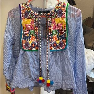 Paper heart Boho embroidered knit top